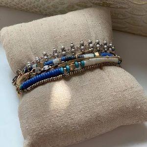 Stella & Dot wrap bracelet blue gold silver
